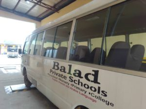 A school bus undergoing inspection at a LACVIS Centre